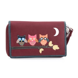 Red 100% Genuine Leather RFID Owls Applique Wristlet Wallet (6.25x1x4 in)