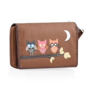 Tan 100% Genuine Leather RFID Butterfly Applique Wallet (6.25x1x4 in)