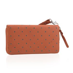 Orange and Turquoise Blue Linning 100% Genuine Leather RFID Wallet with Magnetic Snap Closure (7.5x1x4 in)