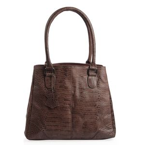 Dark Brown Croco Embossed 100% Genuine Leather RFID Shoulder Bag (12.75x5x11.25 in)