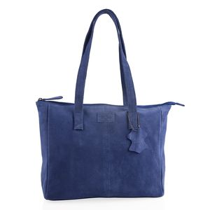 Royal Blue 100% Genuine Leather Tote Bag (12.75x4x11.25 in) with Detachable RFID Wrislet Clutch (7.5x4.5 in)