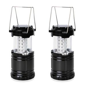 Set of 2 Black Camping Lantern (7x5x3.5 in) (Requires 3AA Batteries)