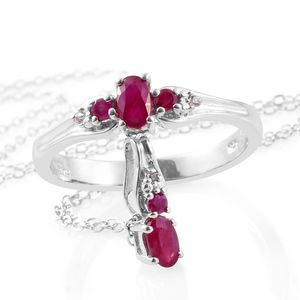 Burmese Ruby, Cambodian Zircon Platinum Over Sterling Silver Ring (Size 7) and Pendant With Chain (20 in) TGW 0.83 cts.