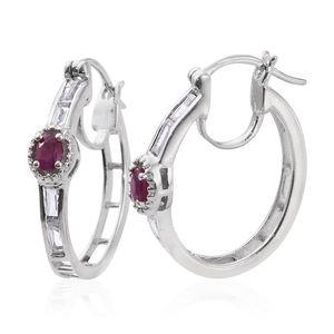 Burmese Ruby, White Topaz Platinum Over Sterling Silver Hoop Earrings TGW 1.94 cts.