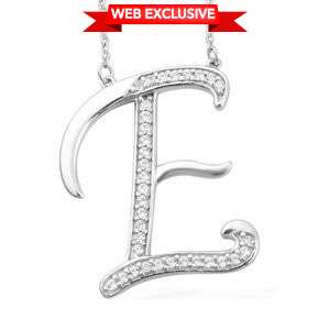 Initial E Necklace Featuring Cambodian White Zircon in Platinum Over Sterling Silver (20 in) TGW 0.47 cts.