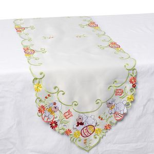 White 100% Polyester Easter Sheeps Embroidered Table Runner (72x16 in)