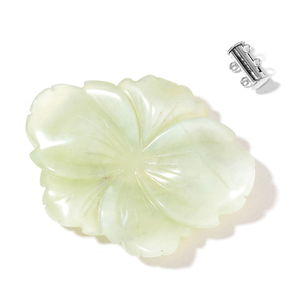 Gem Workshop Green Serpentine Carved Silvertone Flower Charm TGW 189.50 cts.