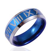 ION Plated Blue and Tungsten Carbide Men's Ring (Size 12.5)