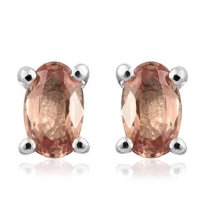 Orange Sapphire Platinum Over Sterling Silver Stud Earrings TGW 0.74 cts.