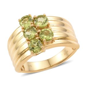 KARIS Collection - Hebei Peridot ION Plated 18K YG Brass 5 Stone Wide Band Ring (Size 5.0) TGW 2.75 cts.