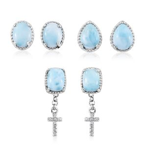 Set of 3 Larimar, Cambodian Zircon Platinum Over Sterling Silver Stud Earrings with Dangle Cross Charm TGW 7.96 cts.