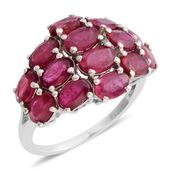 Niassa Ruby Platinum Over Sterling Silver Ring (Size 9.5) TGW 8.50 cts.