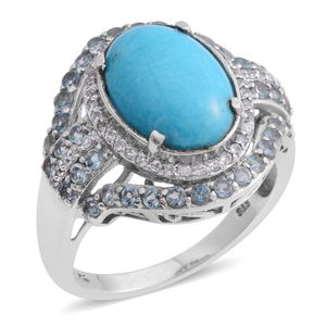 SLEEPING BEAUTY TURQUOISE, Multi Gemstone Platinum Over Sterling Silver Ring (Size 9.5) TGW 5.63 cts.