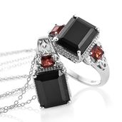 Australian Black Tourmaline, Mozambique Garnet Platinum Over Sterling Silver Ring (Size 9) Pendant With Chain (20 in) TGW 13.90 cts.