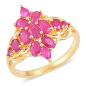 Burmese Ruby 14K YG Over Sterling Silver Ring (Size 9.0) TGW 3.28 cts.