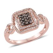 Natural Champagne and Pink Diamond Vermeil RG Over Sterling Silver Ring (Size 8.0) TDiaWt 0.50 cts, TGW 0.50 cts.