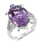 Rose De France Amethyst, Thai Black Spinel, Cambodian Zircon Platinum Over Sterling Silver Turtle Ring (Size 5.0) TGW 11.35 cts.
