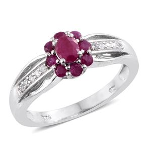 Burmese Ruby, Cambodian Zircon Platinum Over Sterling Silver Floral Ring (Size 5.0) TGW 1.08 cts.