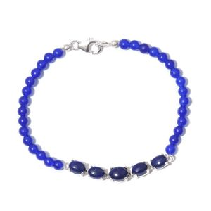 Lapis Lazuli, Blue Quartzite Beads Platinum Over Sterling Silver Bracelet (7.50 In) TGW 25.97 cts.