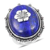 Lapis Lazuli, Grey Austrian Crystal Black Oxidized Stainless Steel Ring (Size 8.0) TGW 20.12 cts.