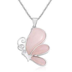 Galilea Rose Quartz Silvertone Butterfly Pendant With Stainless Steel Chain (20 in) TGW 23.50 cts.