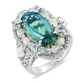 Peacock Quartz, Multi Gemstone Platinum Over Sterling Silver Cocktail Ring (Size 7.0) TGW 12.37 cts.
