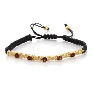KARIS Collection - Mozambique Garnet ION Plated 18K YG Brass Bracelet on Black Cord (Adjustable) TGW 1.75 cts.