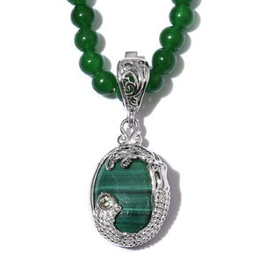 KARIS Collection - African Malachite, Hebei Peridot, Green Quartz Platinum Bond Brass Pendant With Beaded Necklace(20 in) TGW 62.93 cts.