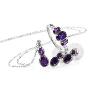 Lusaka Amethyst Platinum Over Sterling Silver Earrings, Ring (Size 6) and Pendant With Stainless Steel Chain (20 in) TGW 3.03 cts.