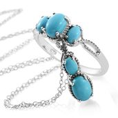 Dan's Collector Deal Arizona Sleeping Beauty Turquoise Platinum Over Sterling Silver Ring (Size 8) and Pendant With Chain (20 in) TGW 2.25 cts.