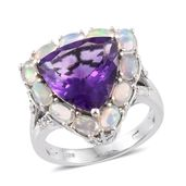 Lusaka Amethyst, Ethiopian Welo Opal, Cambodian Zircon Platinum Over Sterling Silver Ring (Size 10.0) TGW 9.09 cts.