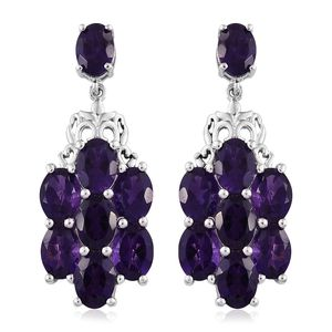 Lusaka Amethyst Platinum Over Sterling Silver Dangle Earrings TGW 10.66 cts.