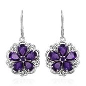 Lusaka Amethyst Platinum Over Sterling Silver Earrings TGW 7.92 cts.
