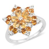 Salamanca Fire Opal, Cambodian Zircon Platinum Over Sterling Silver Floral Ring (Size 7.0) TGW 1.75 cts.
