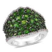 Russian Diopside, Cambodian Zircon Platinum Over Sterling Silver Ring (Size 5.0) TGW 5.57 cts.