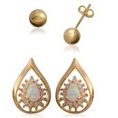 Simulated Diamond, Lab Created Opal 14K YG Over Sterling Silver Set of 2 Earrings TGW 0.09 cts.