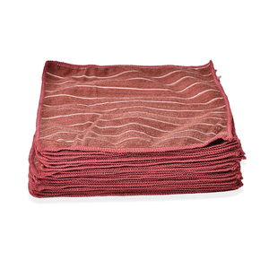 Set of 25 Brown Microfiber Stripe Pattern Cleaning Towel (12x12 in)