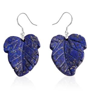Lapis Lazuli Sterling Silver Carved Leaf Earrings TGW 75.50 cts.