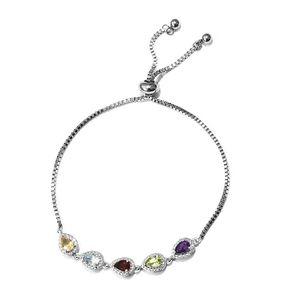 Multi Gemstone Platinum Bond Brass Bolo Bracelet (Adjustable) TGW 2.20 cts.