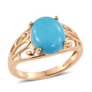 Arizona Sleeping Beauty Turquoise Vermeil YG Over Sterling Silver Openwork Ring (Size 7.0) TGW 4.00 cts.