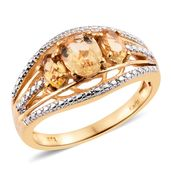 KARIS Collection - Brazilian Citrine ION Plated 18K YG Brass 3 Stone Ring (Size 8.0) TGW 2.03 cts.