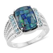 Australian Mosaic Opal, Electric Blue Topaz Platinum Over Sterling Silver Men's Ring (Size 7.0) TGW 5.14 cts.