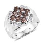 Merelani Color Change Garnet, Cambodian Zircon Platinum Over Sterling Silver Men's Ring 2.75 ct tw (Size 10.0)