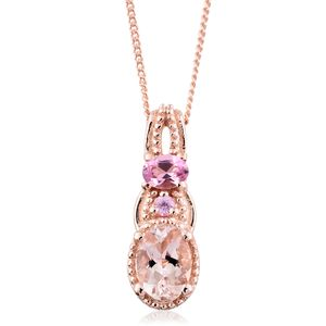 Marropino Morganite, Morro Redondo Pink Tourmaline, Madagascar Pink Sapphire Vermeil RG Over Sterling Silver Pendant With Chain (20 in) TGW 0.93 cts.