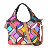 Multi Color Geometric Genuine Leather Shoulder Bag with Removable Strap (17x4.5x13 in)