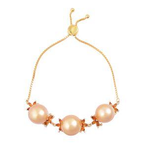 South Sea Golden Pearl (13-14 mm), Santa Ana Madeira Citrine 14K YG Over Sterling Silver Magic Ball Floral Bracelet (Adjustable) TGW 1.25 cts.