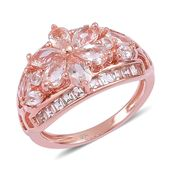 Marropino Morganite, White Topaz 14K RG Over Sterling Silver Ring (Size 9.0) TGW 2.13 cts.