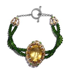 Canary Fluorite, Brazilian Citrine, Russian Diopside 14K YG and Platinum Over Sterling Silver Bracelet (7.50 In) TGW 54.40 cts.