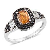 Serra Gaucha Citrine, White Topaz, Thai Black Spinel Black Rhodium & Platinum Over Sterling Silver Ring (Size 7.0) TGW 1.82 cts.