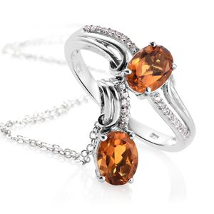 Serra Gaucha Citrine, Cambodian Zircon Platinum Over Sterling Silver Ring (Size 7) and Pendant With Chain (20 in) TGW 2.45 cts.